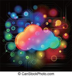 nuage, coloré, fond