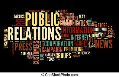 nuage, concept, étiquette, relations publiques