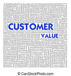 nuage, concept affaires, client, valeur, mot