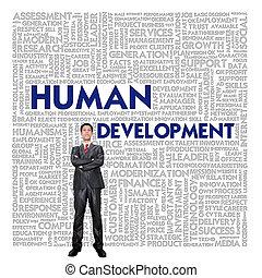 nuage, concept affaires, développement, humain, mot