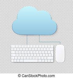nuage, concept, transparent, fond, calculer
