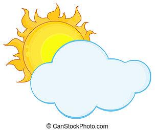 nuage, entiers, derrière, soleil