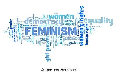 nuage, féminisme, mot