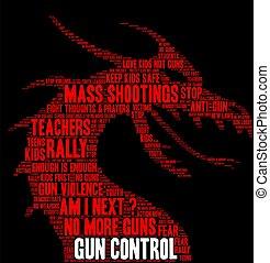 nuage, fusil, mot, contrôle