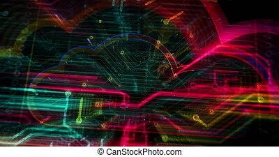 nuage, futuriste, symbole, animation, cyber