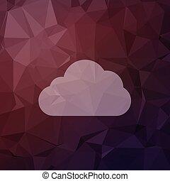nuage, icône, plat, style