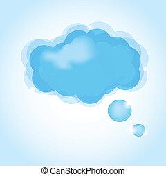 nuage, icon., vecteur, lustré, illustration