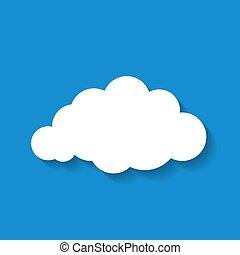 nuage, illustration, bleu, backg, blanc, papier, vecteur, ciel, plat