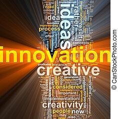 nuage, innovation, mot, incandescent