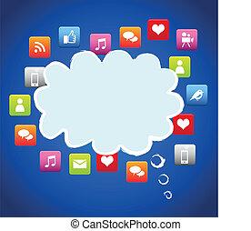 nuage, média, social