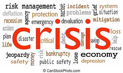 nuage, mot, étiquette, crise, concept, fond, blanc