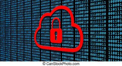 nuage noir, bleu, fermé, -, sécurité données, fond, sur, code, concept, rouges, binaire, cadenas