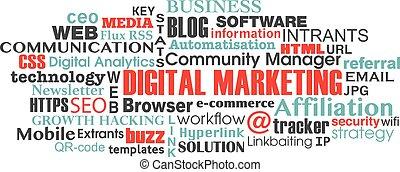 nuage, numérique, étiquette, commercialisation, concept, mot