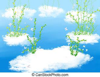 nuage, plante