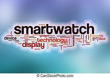 nuage, résumé, mot, fond, smartwatch