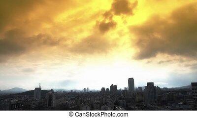 nuage, sur, high-rise., ville bâtiments