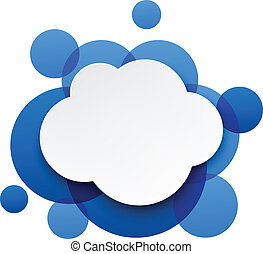 nuage, sur, papier, bleu, bubbles., blanc