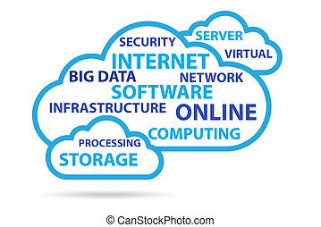 nuage, technologie, concept, calculer