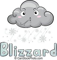 nuage, tempête neige, illustration, mascotte