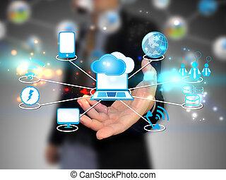 nuage, tenue, homme affaires, technologie, calculer, concept