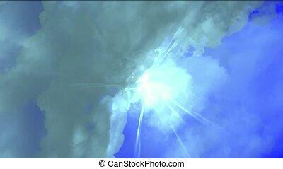 nuages, &, éblouissant, tempête foudroyante