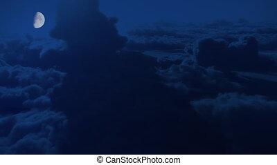 nuages, élevé, vol, altitude, clair lune, dramatique, nuit, aérien
