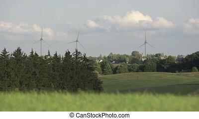 nuages, éoliennes, rotation, tourner, turbines, arbres, rural, entouré, village, nature, grass., vent, distance, fond, moulin