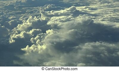 nuages, au-dessus, footage., voler, aérien