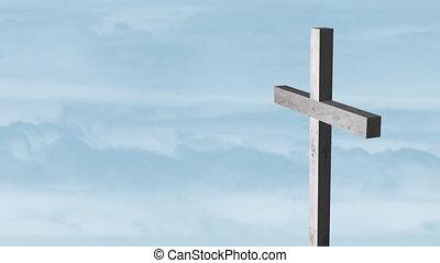 nuages, bois, bleu, silhouette, croix, fond, sur, en mouvement, animation, chrétien