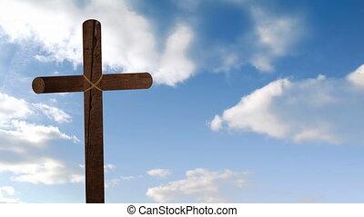 nuages, bois, croix bleue, fond, sur, en mouvement, animation, chrétien