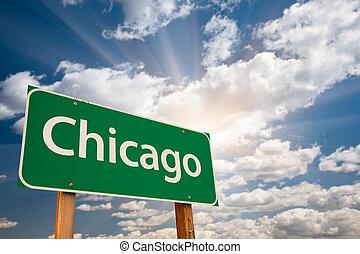 nuages, chicago, sur, signe, vert, route
