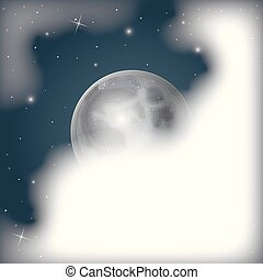 nuages, ciel étoilé, scène, lune, nightly, fond, couvert, vue