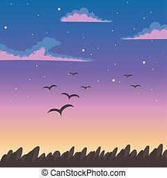 nuages, ciel, coucher soleil, feuillage, voler, nature, fond, oiseaux