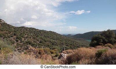 nuages, ciel, forêt, fond, olive, vue