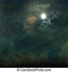 nuages, cimetière, spooky, halloween, lune, sombre, inquiétant