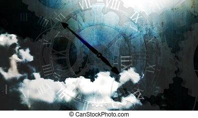 nuages, clocks, grunge, défaillance temps