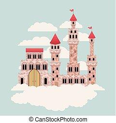 nuages, coloré, contes, entouré, ciel, château, fée