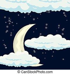 nuages, conception, lune