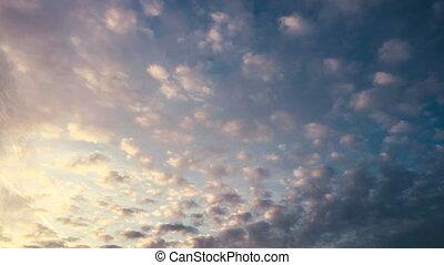 nuages, en mouvement, lapse., temps
