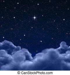 nuages, espace, ciel, par, nuit, ou