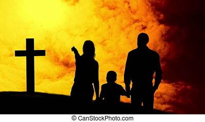 nuages, famille, enfant, silhouettes, traverser par-dessus, en mouvement, animation, chrétien, jaune