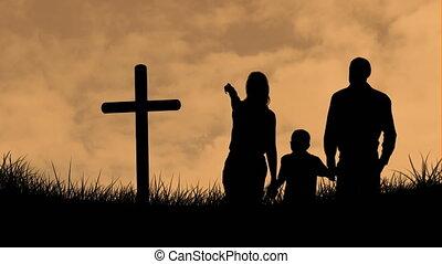 nuages, famille, orange, enfant, silhouette, traverser par-dessus, animation, chrétien