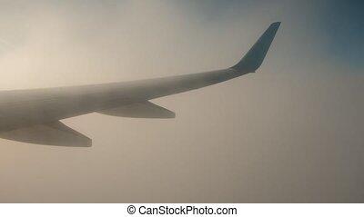 nuages, fenêtre, rouler, aile avion, vue