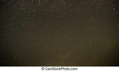 nuages, fond, ciel, contre, en mouvement, étoiles, nuit