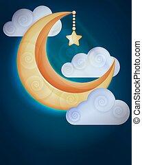 nuages, fond, lune