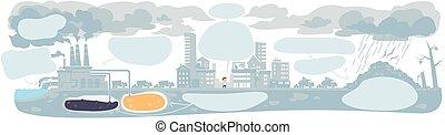 nuages fumée, écologie, infographic, urbain