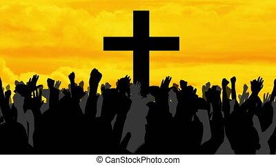 nuages, gens, silhouettes, traverser par-dessus, animation, chrétien, jaune