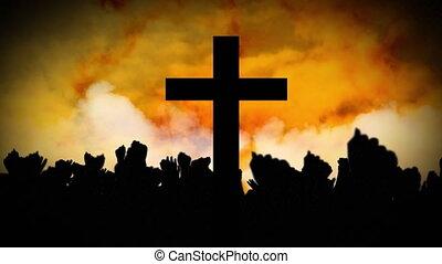 nuages, gens, silhouettes, traverser par-dessus, en mouvement, animation, chrétien, jaune