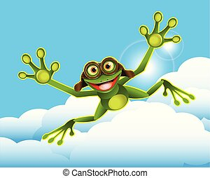 nuages, illustration, grenouille, stockage