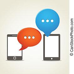 nuages, mobile, moderne, deux, téléphone, parole